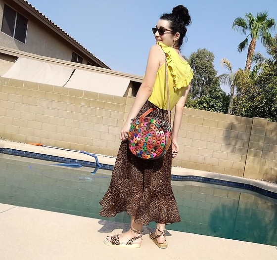 Saguaro Style - Anthropologie Yellow Ruffle Top, Amerileather Rainbow Circle Bag, Leopard Skirt, Sven Clogs Leopard - 08.24.20