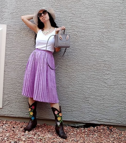 Saguaro Style - Sundance White Eyelet Tank Top, Kate Spade Bunny Purse, Purple Pleated Skirt, Justin Boots Rose Cowboy - 08.25.20