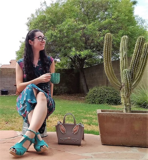 Saguaro Style - Talbots Floral Dress, Sven Clogs Turquoise, Kate Spade Bunny Purse - 08.28.20
