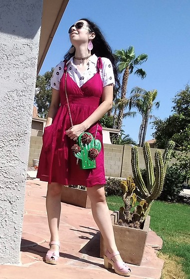 Saguaro Style - Ae Outfitters Pink Dress, Betsey Johnson Cactus Bag, Sven Clogs Pink Bow - 09.02.20