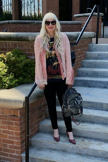 Shannon D - Cynthia Steffe Jacket, Chanel Backpack, Manolo Blahnik Heels, Joe's Jeans Black, Chanel Id Necklace, Vintage Paul Mccartney T Shirt - Labor Day Weekend