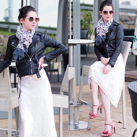 Claire H - H&M Silk Skirt, Mime Et Moi Velvet Sandals, Zara Leather Jacket - Two styles in one