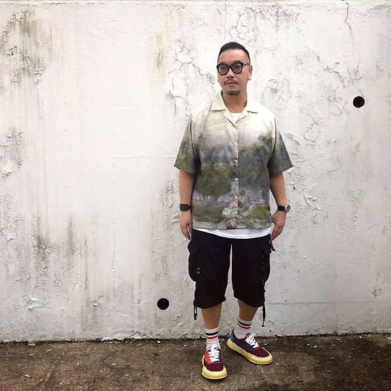 Mannix Lo - Oil Painting Print Shirt, Undercover Shorts, Miharayasuhiro Sneakers - Life is a book