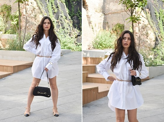 "Jelena Dimić - Zara Oversized Poplin Shirt, Zara Gold Chain Belt, Rosefield Watch, Cocopat Baguette Bag ""Sara"", Zara Shoes - Give me your all and nothing else"