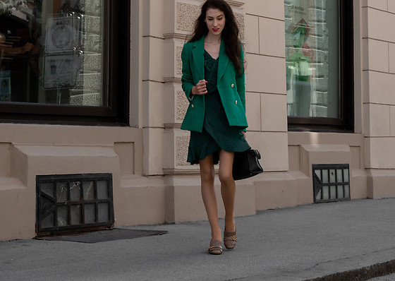 Veronika Lipar - Sandro Green Double Breasted Blazer, Self Portrait Green Wrap Dress, Gucci Taupe Heeled Loafers - Green Monochrome Outfit for Work