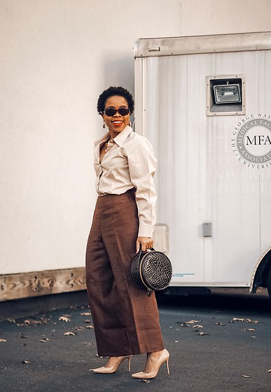 Grace Alex - Acne Studios Beige Shirt, Nordstrom Brown Leather Bag, Betsey Johnson Brown Linen Pants - Mid-Autumn