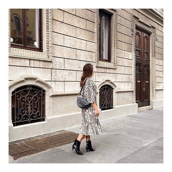 Enrica Scielzo - Zara Snake Primted Dress, Mati Collective Vegan Leather Bag, Booties - Snake charmer