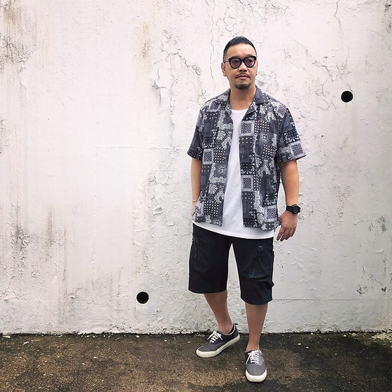 Mannix Lo - Print Shirt, Nike Multi Pockets Shorts, Global Work Patchwork Sneakers - I overthink because I over love and over care