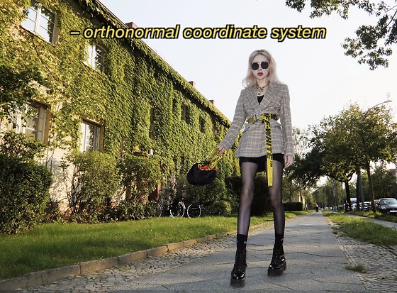 Emmalynn V - Gentle Monster Double Bread Sunglasses, Dolls Kill Lock Necklace, Riani Checked Blazer, Off White Off White Industrial Belt, Jeffrey Campbell Shoes Combat Boots, Off White Off White Industrial Fanny Pack, Alexander Wang Shorts - Orthonormal Coordinate System