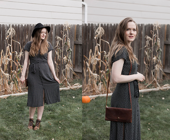 Emily S. - Abercrombie & Fitch Midi Dress, Thursday Boots Lace Up, Hustle And Hide Bag, Brixton Hat - Witchy October
