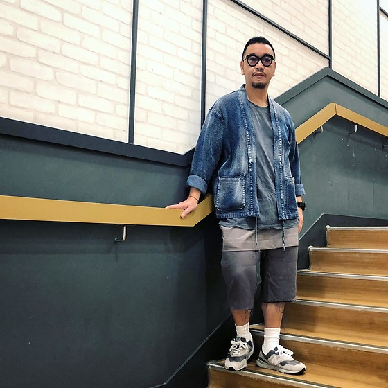 Mannix Lo - Denim Kimono, H&M Washed Tee, Rick Owens Layer Shorts, New Balance 997h Sneakers - I'm too lazy to explain the whole story
