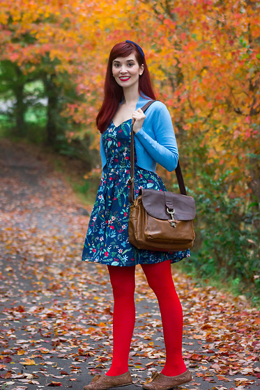 Bleu Avenue Ofbleuavenue - Sparrows Floral Navy Dress, Modcloth Red Tights, Collectif Blue Jean Bolero Shrug - Waiting and Waiting and Waiting for Fall