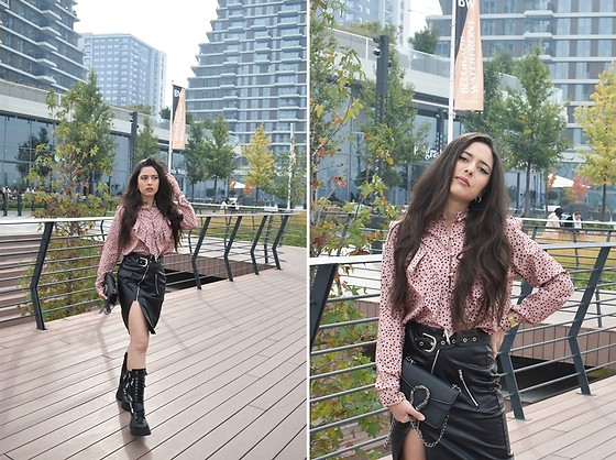 Jelena Dimić - Prodaja Haljina Iva Ruffled Blouse, Shein Leather Zipper Skirt, Rosefield Watch, Aliexpress Bag, Zara Combat Boots - Look at you, now look at me