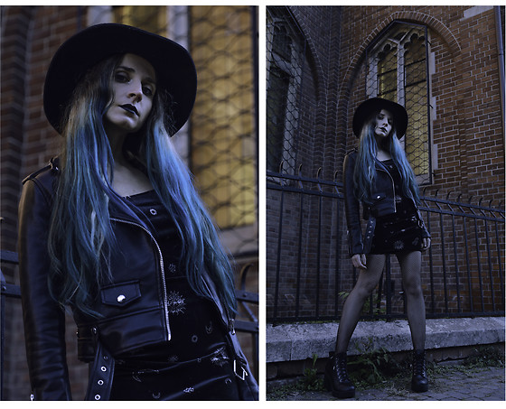 DanyIce - Vintage Black Hat, Bershka Synthetic Leather Jacket, H&M Little Black Dress, H&M Boots - Leather armor
