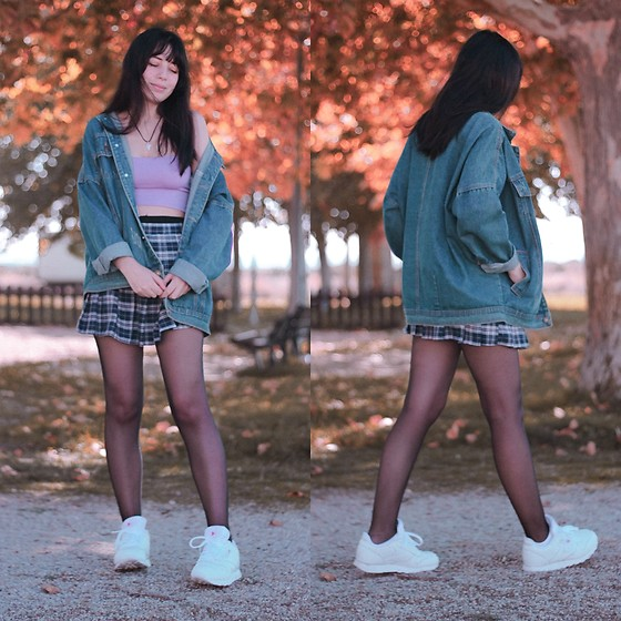 Filipa Lopes - Zaful Denim Oversized Jacket, Reebok White Sneakers, Pull & Bear Crop Top - Autumn, you're pretty