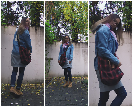 Tram Anh - Denim Jacket, Tote Bag, Sweatshirt Dress, Cheap Monday Skinny Jeans, Timberland Boots, Scarf, Ace & Tate Glasses - Paranoid android