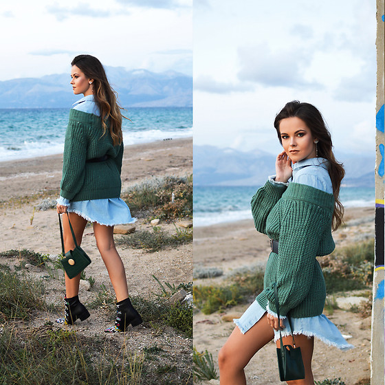 Tamara Bellis - Dresslily Deep Green Sweater, Dresslily Denim Dress, Dresslily Shoulder Mini Bag, Dresslily Snakeskin Boots - Total Dresslily Fall Look