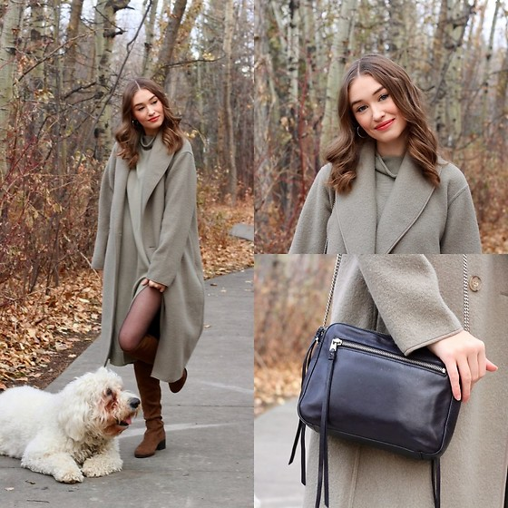 Taylor Doucette - Wilfred Charlize Coat, Wilfred Cyprie Sweater Dress, Nordstrom Sheer Tights, Allsaints Leather Crossbody Purse, Zara Suede Over The Knee Boots - My Sweet Refuge - Roo Panes
