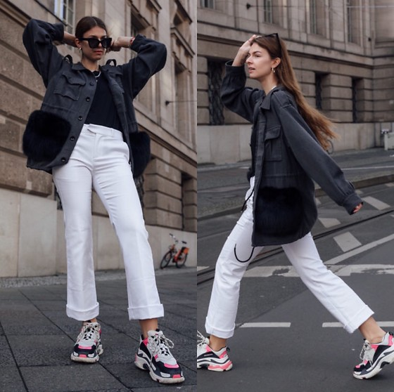 Jacky - Custommade Jeans Jacket, Custommade White Jeans, Balenciaga Sneaker, Pilgrim Sunglasses, Zara Basic T Shirt - Jacket with fake fur statements