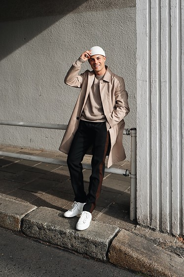 Kevin Elezaj - Common Projects Sneakers, Libertine Suit Pants, Sandro Knitwear, Topman Trench Coat, Asos Beanie - Trench