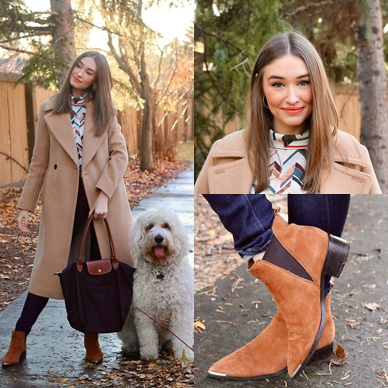 Taylor Doucette - Club Monaco Daylina Wool Coat, Babaton Geometric Campbell Blouse, Citizens Of Humanity Dark Wash Rockets, Marc Fisher Suede Yale Boots, Longchamp Tote Le Pliage - Never the 1 - ROSIE