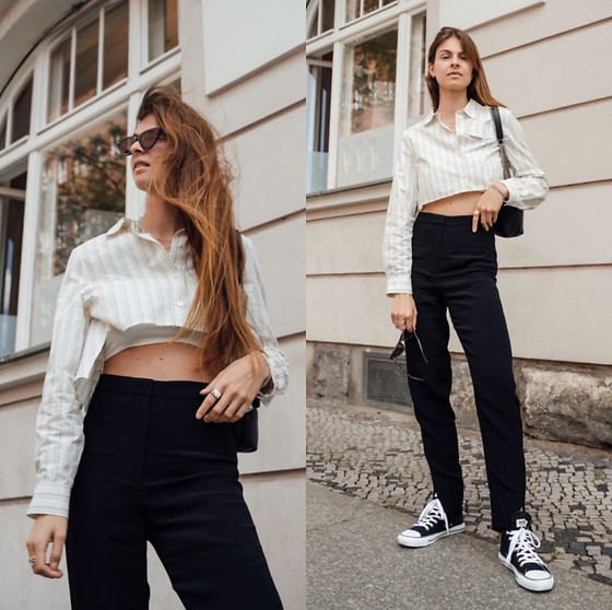Jacky - Baum Und Pferdgarten Cropped Blouse, Arket Black Jeans, Ethletic Black Sneaker, Pinko Black Bag, Chimi Vogue Sunglasses - Absolutely trendy: cropped blouses