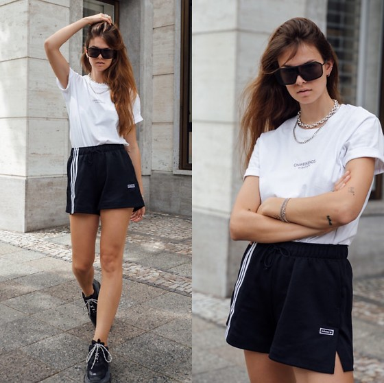 Jacky - Adidas Sport Shorts, Onweekends White Basic T Shirt, Calvin Klein Big Sunglasses, Balenciaga Sneaker - Sporty look with onweekends shirt