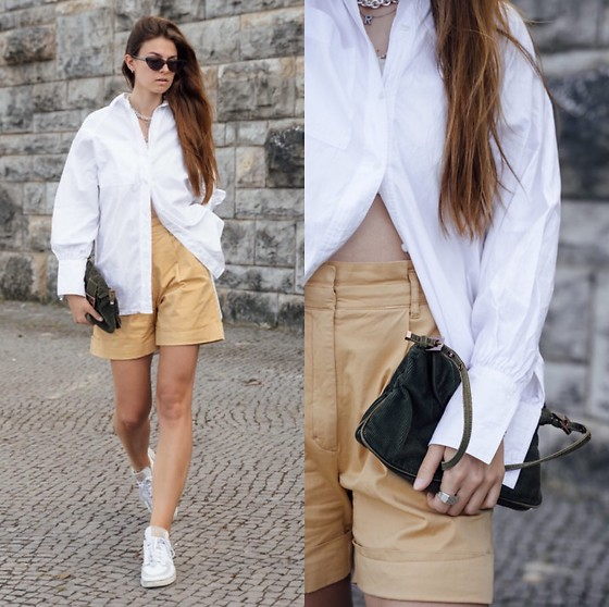 Jacky - Fendi Small Bag, Adidas White Sneaker, Baum Und Pferdgarten High Waist Shorts, Topshop White Blouse - Yellow Bermuda shorts for the summer