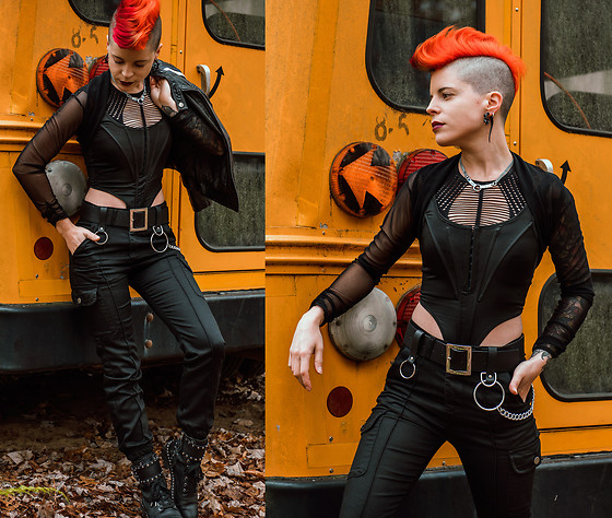 Carolyn W - Femme Luxe Corset, Asos Chain, Femme Luxe Cargo, Sam Edelman Studded - Abandoned School Bus