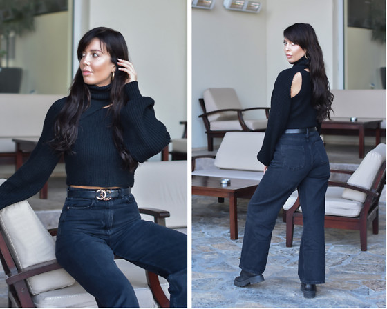 Kaya Peters - Black 2 Piece Sweater, Black Cropped Denim - An All Black Look