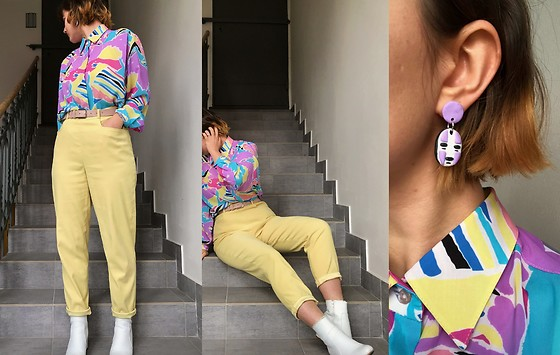 Hypersensitive M. - Diy No Face Earrings, Thrifted Pastel Yellow Carrot Trousers, A Friend's Grandmother's Closet Pastel Shirt, Thrifted Pastel Pink Belt, Anna Field White Ankle Boots - Ponyo's Hot Tea with Milk and Honey