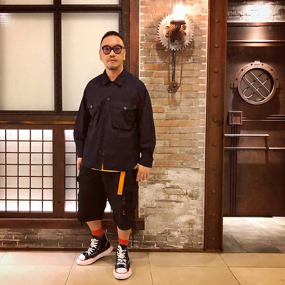 Mannix Lo - Gu Jungle Jacket, Undercover Cargo Shorts, Miharayasuhiro X Nigel Cabourn Destroyed Denim Sneakers - Don't HATE what you don't understand