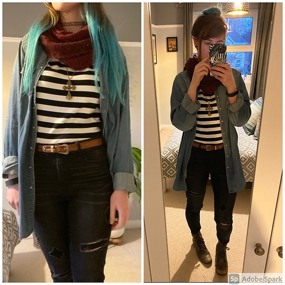Space Coyote - Hollister Black Ripped Jeans, Topshop Oversized Denim Shirt, Topshop Cranberry Scarf, Shein Striped Top - You Are The Reason