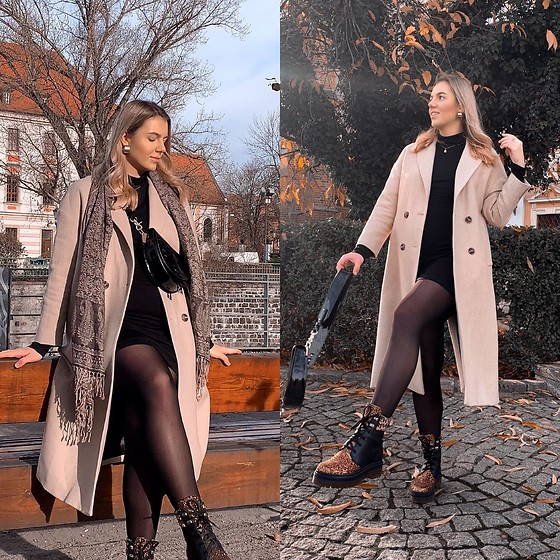 Zuza - Eva Minge Boots, Mango Coat, Chylak Bag, Weekday Dress - Big coat, even bigger boots
