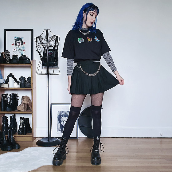 Saskia B. - Love Too True Pleated Skirt, Lpc Custom Pokemon Tee, Dr. Martens Jadon Hi Max, Vitaly Chain - Pokemon starter