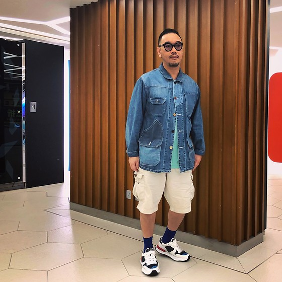 Mannix Lo - Patchwork Denim Coverall, Uniqlo Cargo Shorts, Miharayasuhiro Sneakers - Can I order a large tight hug until I feel okay