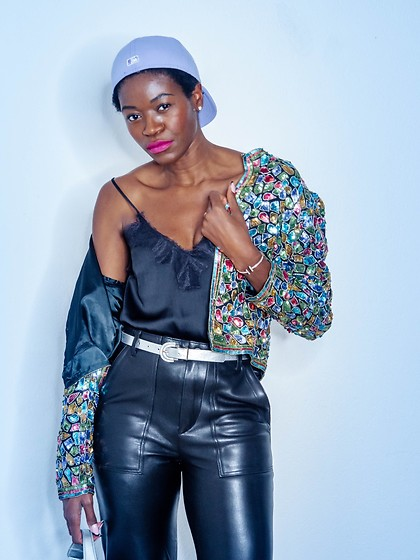 PAMELA - H&M Silk Cami Top, Zara Leather Pants, Judith Ann Creations Vintage Sequined Jacket - Sparkle and Leather