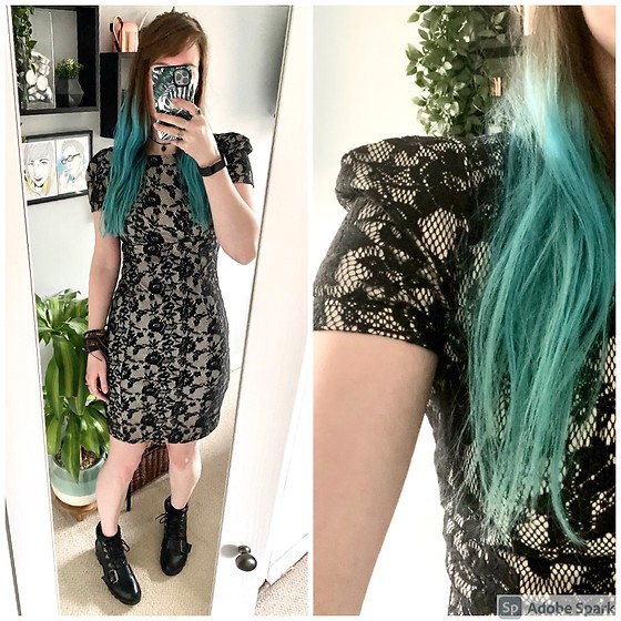 Space Coyote - Topshop Lace Flower Dress, Topshop Black Boots - Monophobia