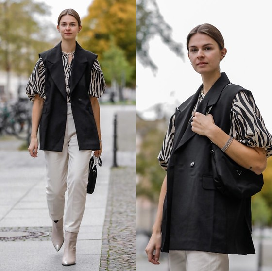 Jacky - Birgitte Herskind Vest, Prada Shoulder Bag, Lola Cruz Cowboy Boots, Sezane White Jeans, Sezane Animal Blouse - Blazer vest and blouse with animal print