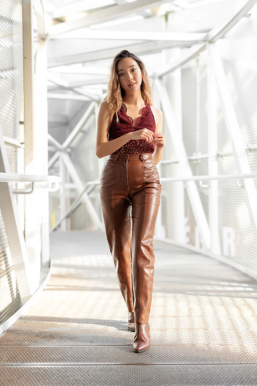 Gabby Chia - Wilfred Vegan Leather Pants, Topshop Lace Bodysuit, Vagabond Lather Shoes - Lace & Leather