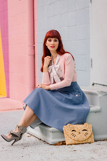 Bleu Avenue - Retrolicious Cat Bow Blouse Top, Collectif Pale Pink Jean Bolero Shrug, Chic Wish Classic Simplicity Skirt - Fur-midable Fashion