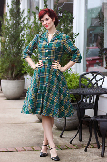 Bleu Avenue - Dresslily Vintage Plaid Mock Button Dress - Dresslily Plaid