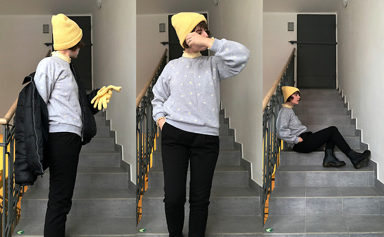 Hypersensitive M. - Thrifted Daisy Sweatshirt, Thrifted Paperbag Trousers, Dr. Martens Dr 1460 Vegan Vintage Black Felix Rub Off, Thrifted Pastel Yellow Beanie, Thrifted Pastel Yellow Gloves, Thrifted Black Puffer, Thrifted Frilled Collar Pastel Yellow Shirt - Hendrick's gin & thomas henry tonic water