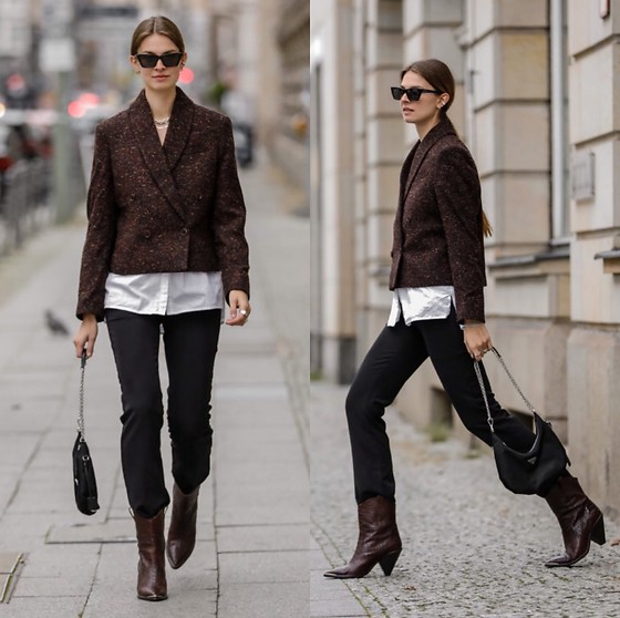 Jacky - Anine Bing Cropped Blazer, Gestuz White Blouse, Birgitte Herskind Black Pants, Toral Cowboy Boots, Prada Small Bag, Saint Laurent Cateye Sunglasses - Cropped blazer with cowboy boots