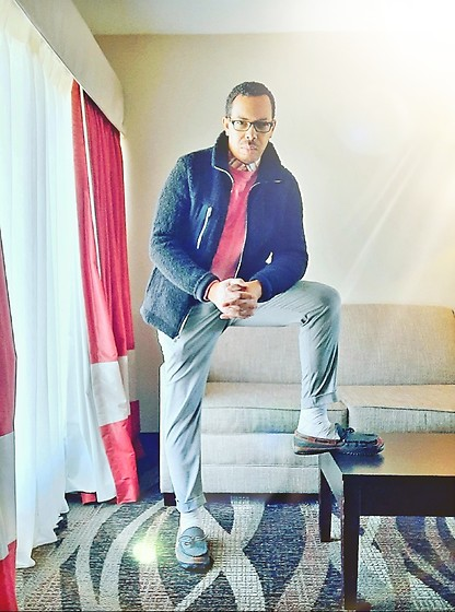 Greg Prince - Sperry Loafers, J. Crew Chino, H&M Jacket, Old Navy Sweater - Wintertime Fine