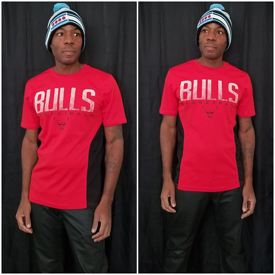 Thomas G - Thirty Five 55 City Of Chicago 'Super Flag' Pom Knit, Unk Nba Chicago Bulls, Vintage Genes Wax Coated Slim Straight - Chicago Pride