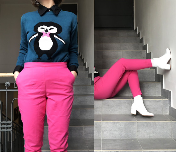 Hypersensitive M. - Anna Field White Ankle Boots, Thrifted Penguin Sweatshirt, Thrifted Pink Carrot Trousers, Thrifted Basic Black Shirt - Where'd You Go Bernadette Pink Penguin Cocktail