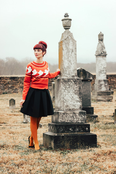 Bleu Avenue - Modcloth Ghost Fair Isles Sweater Orange, Chic Wish Sweet Your Heart Bow Skirt - The Ghost of Christmas Presents