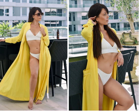 Kaya Peters - Yellow Robe, White Bikini Briefs, White Bikini Top - Sunshine Robe