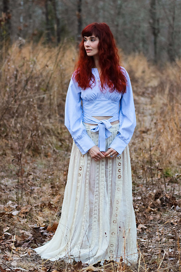 Bleu Avenue - Shein Wrap Crop Top, Free People Ribbon Maxi Skirt - Boho Hair